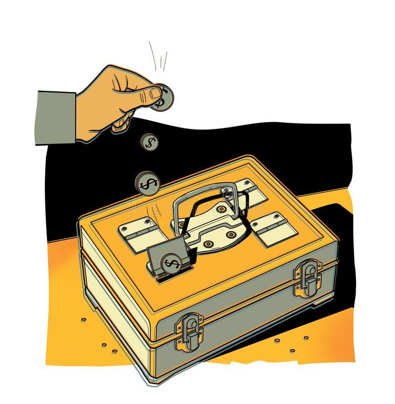 La main d'un homme met des pièces de monnaie du dollar dans un coffre-fort portatif en métal Fonds de part d'intervalle illustration stock