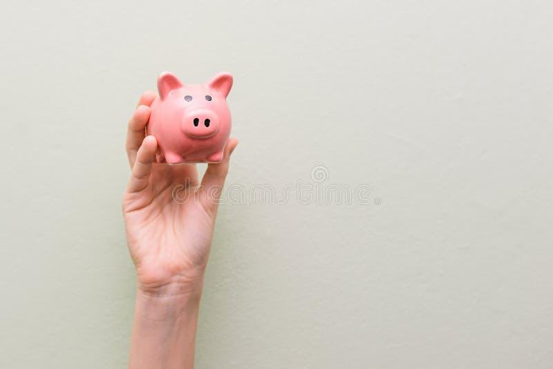 La main d'un homme tient un porc de porcelaine Tirelire rose Sujet financier photographie stock