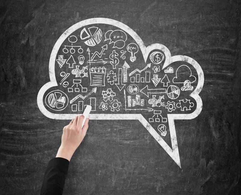 La main d'une femme qui dessine un nuage avec la gamme des icônes d'affaires sur le tableau photos libres de droits