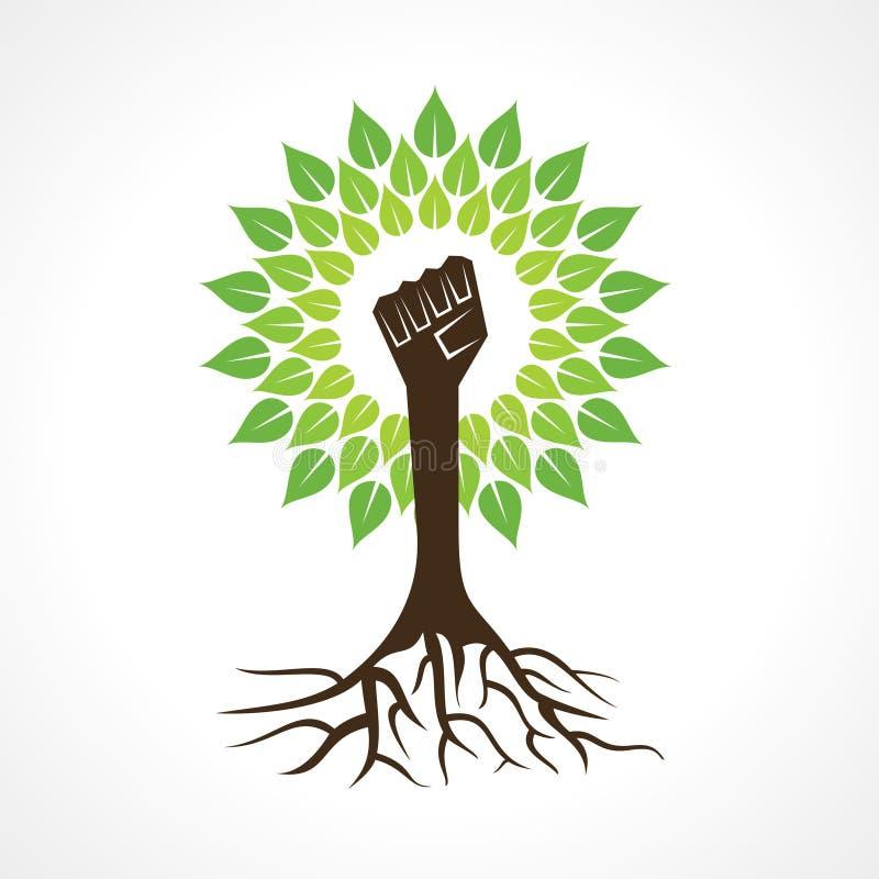 La main d'unité font l'arbre illustration stock