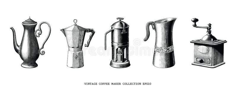 La main de collection de fabricant de café de cru dessinent le clipart (images graphiques) noir et blanc d'isolement sur le fond  illustration libre de droits