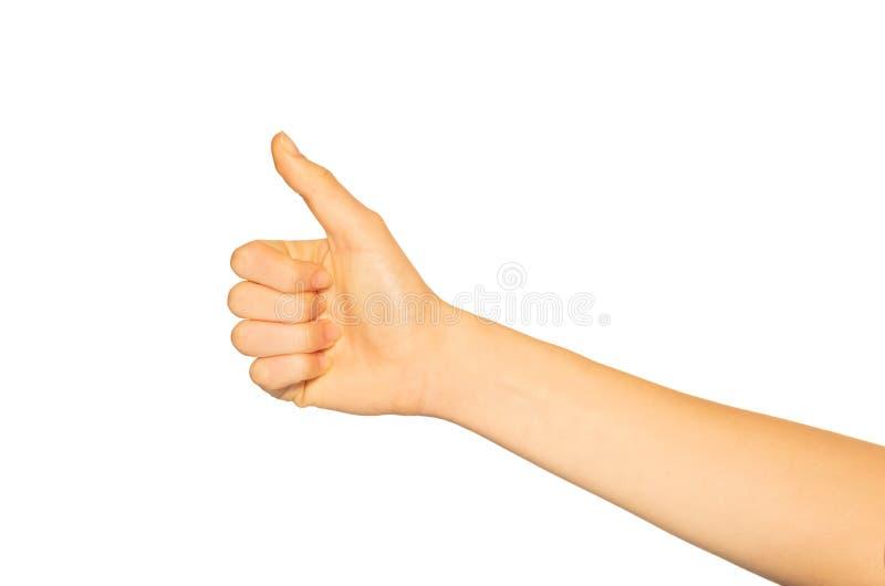La main de la femme donnant des pouces vers le haut de geste sur le blanc photo stock