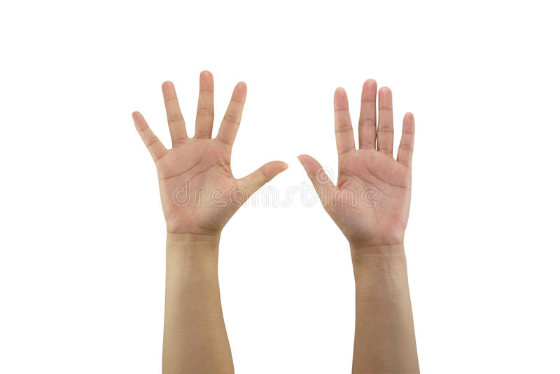 La main de femme faisant le signe et donnent la main deux d'isolement sur b blanc photo libre de droits