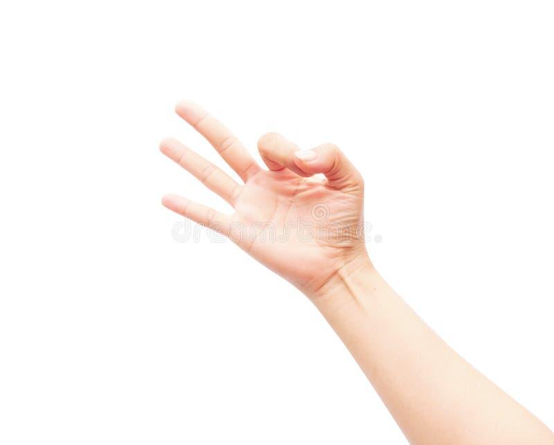 La main de femme montre l'ok de signe et de symbole sur le fond blanc photos libres de droits