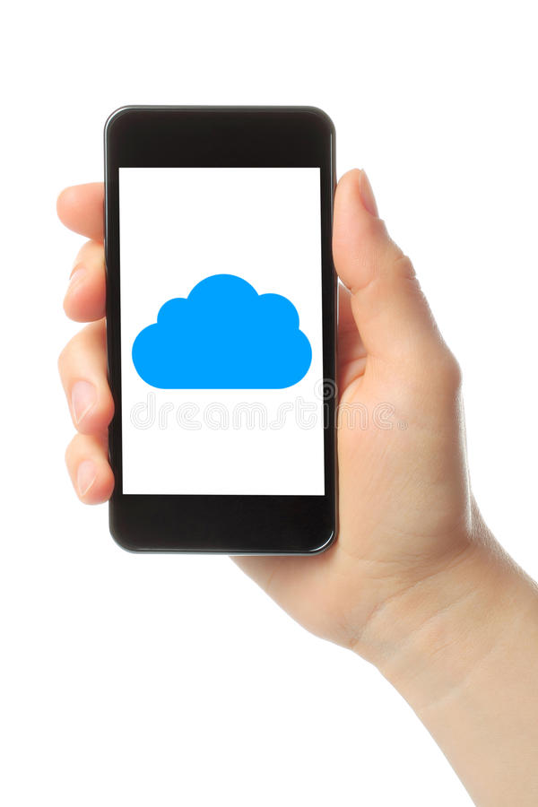 La main de femme tient le téléphone intelligent avec le nuage image stock