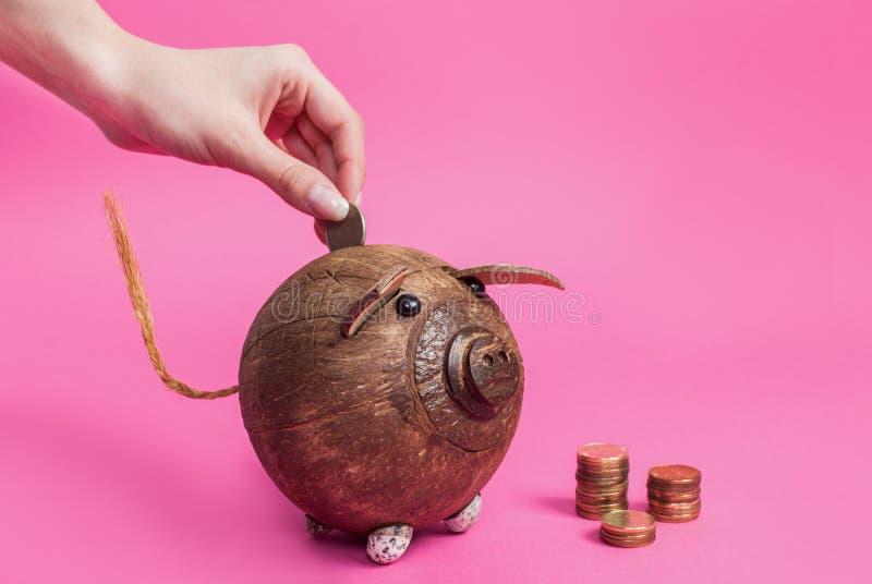 La main de femmes jette la pièce de monnaie en métal à une tirelire d'isolement sur le fond rose photographie stock libre de droits