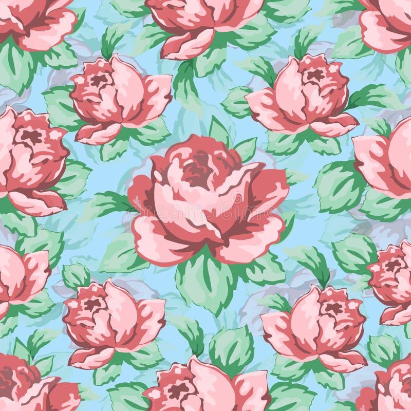 La main de fleur de Rose dessinant le modèle sans couture, dirigent le fond floral, ornement floral de broderie Rose tirée de ros illustration stock