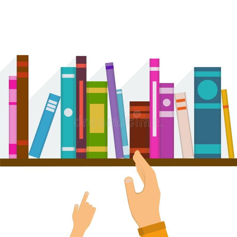 La main de l'enfant indiquant le livre illustration stock