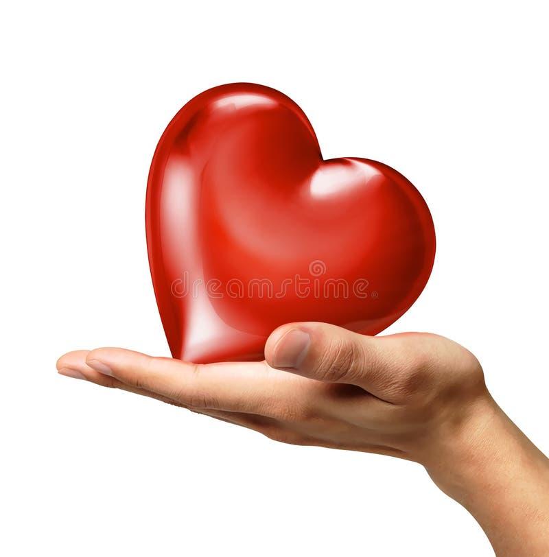 La main de l 39 homme tenant un coeur sur la paume vue d 39 un c t illustration stock - Photo d un coeur ...