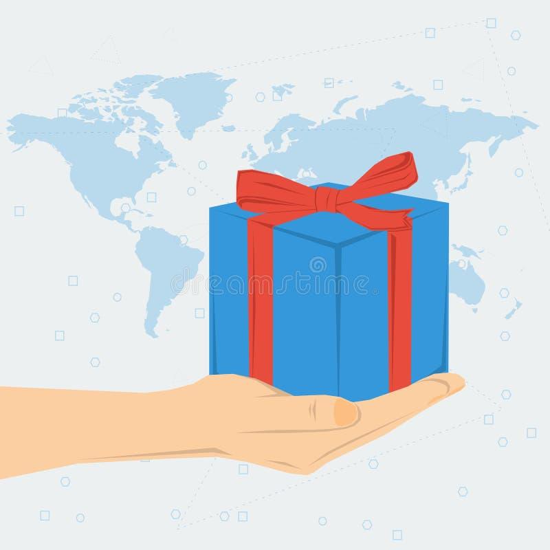 La main de la femme avec le boîte-cadeau illustration stock