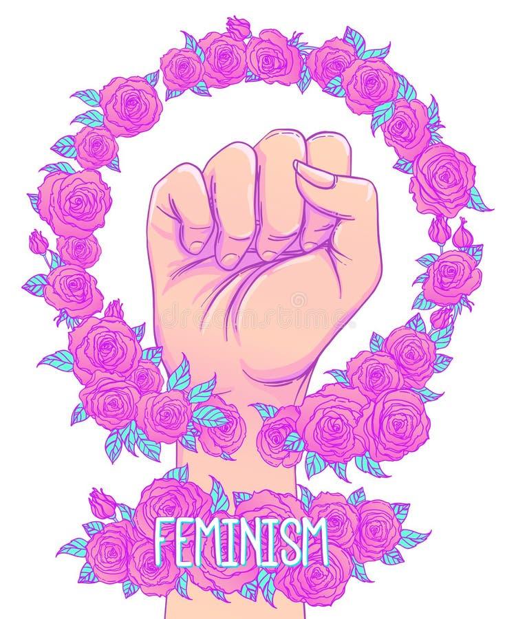 La main de la femme avec son poing augmenté  Puissance de fille Conce du féminisme illustration libre de droits