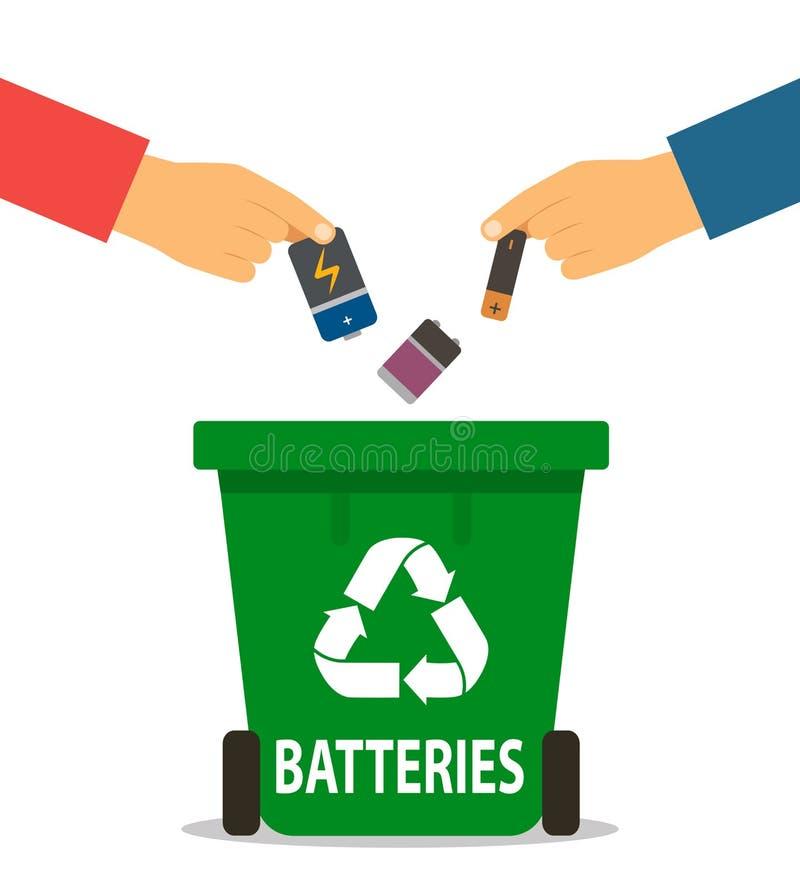 La main de la personne jette les batteries utilisées dans le conteneur de réutilisation concept du traitement de déchets Illustra illustration de vecteur