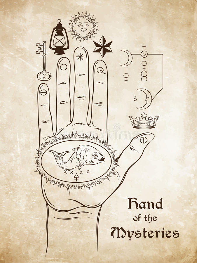 La main des mystères Le symbole alchimique de l'apothéose, la transformation illustration de vecteur