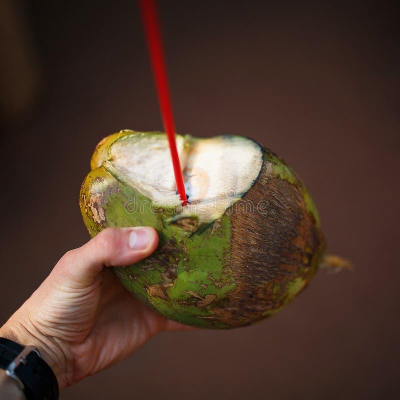 La main donnant une jeune noix de coco verte fraîche s'est ouverte avec une paille mise dans elle, avec le texte Bula Fidji écrit images stock