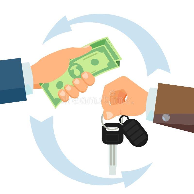 La main donnant la voiture verrouille le vecteur Location de voiture d'affaires, concept de vente Vendeur de voiture And New Owne illustration libre de droits