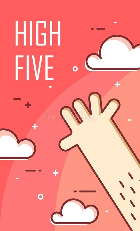 La main donne cinq Ligne mince conception plate Drapeau de vecteur illustration libre de droits