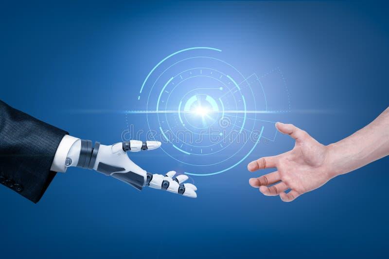 La main du robot dans la main de costume et d'homme atteignant pour la poignée de main avec l'objet sphérique d'hologramme à l'ar illustration de vecteur