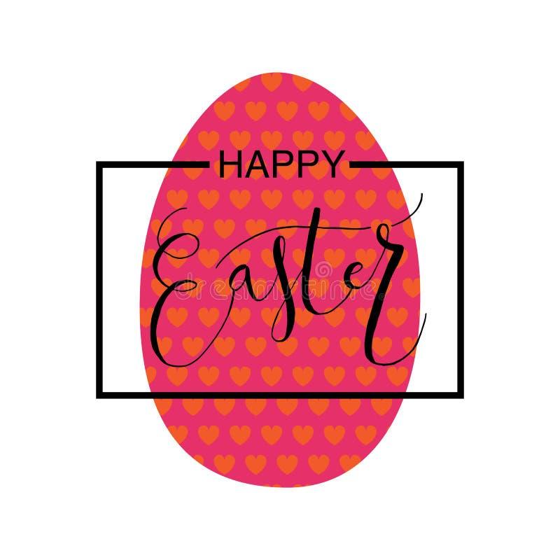 La main a esquissé Joyeuses Pâques réglées comme logotype, insigne ou icône de Pâques illustration stock