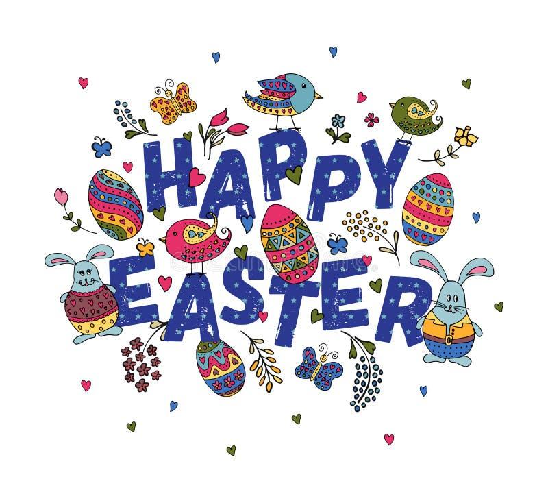 La main a esquissé Joyeuses Pâques réglées comme logotype, insigne ou icône de Pâques illustration libre de droits