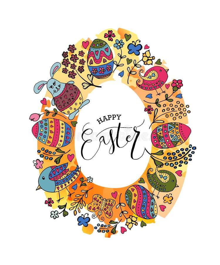 La main a esquissé Joyeuses Pâques réglées comme logotype, insigne ou icône de Pâques illustration de vecteur
