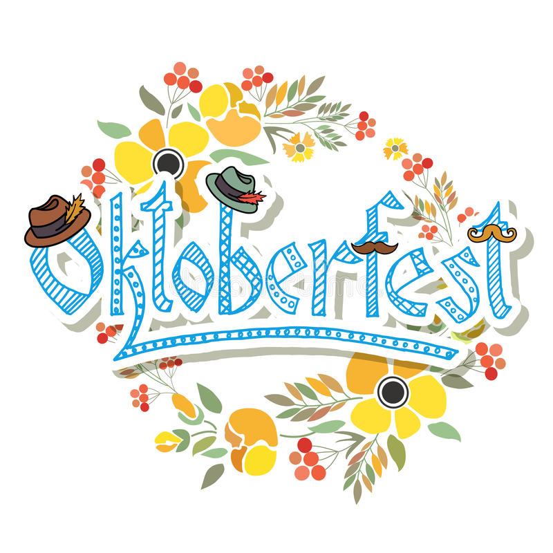 La main a esquissé l'icône d'Oktoberfest illustration stock