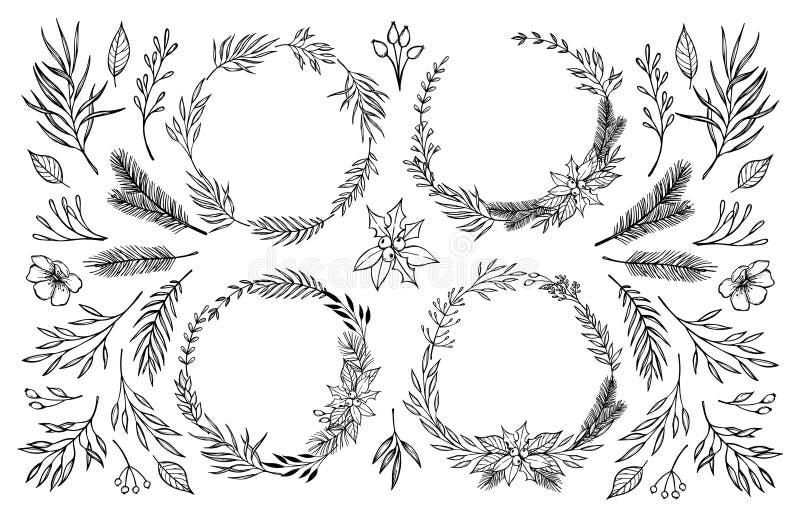 La main a esquissé l'illustration de vecteur Guirlande de laurier avec l'ele floral illustration de vecteur