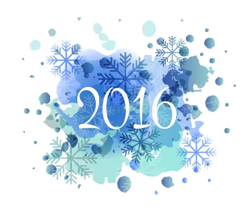 La main a esquissé le logotype, l'insigne et l'icône d'aquarelle de la nouvelle année 2016 illustration libre de droits