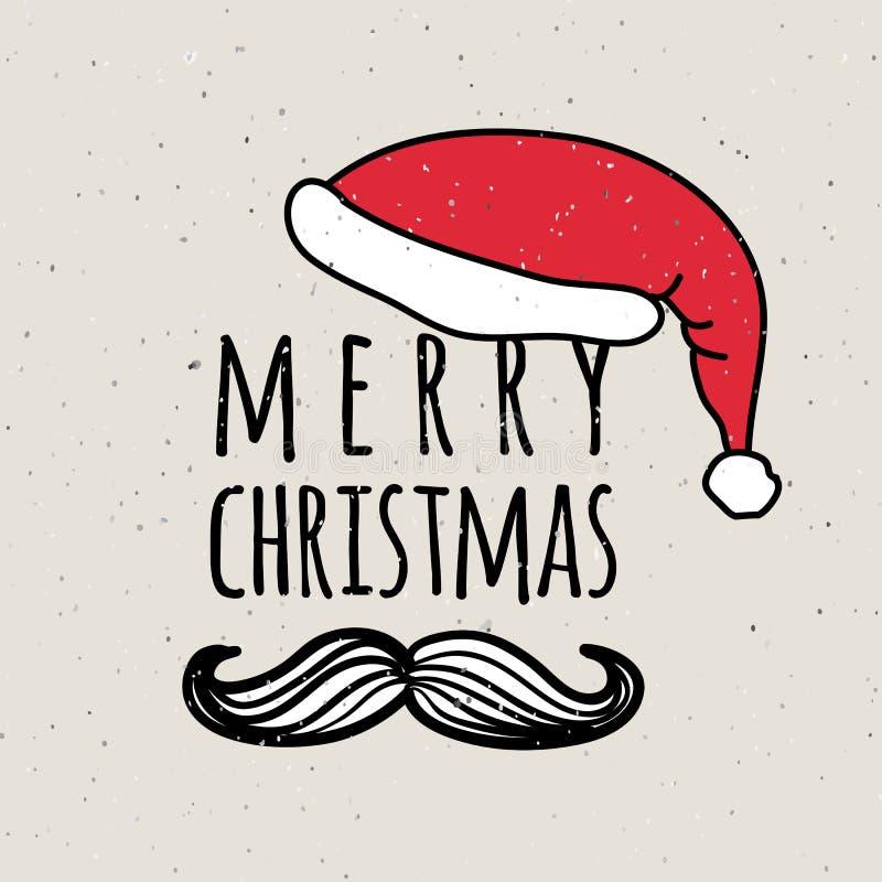 La main a esquissé le logotype, l'insigne et l'icône de Joyeux Noël illustration de vecteur