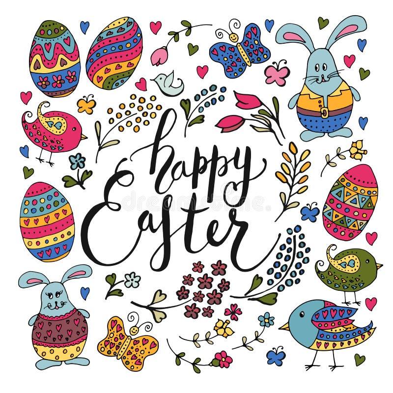 La main a esquissé le texte heureux de Pâques avec des objets de Pâques illustration stock