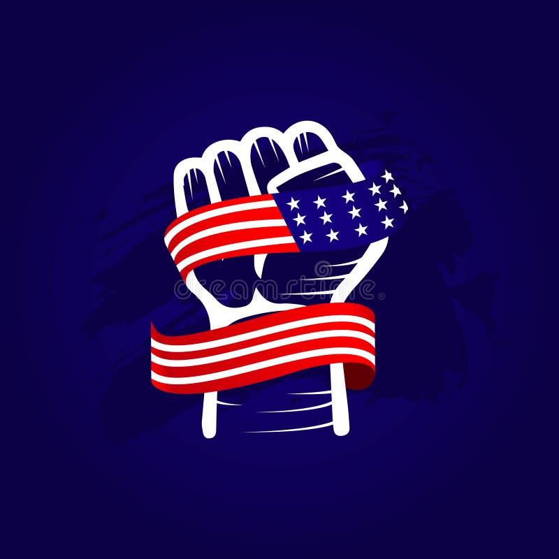 La main et le drapeau Etats-Unis dirigent l'illustration de conception de calibre illustration de vecteur