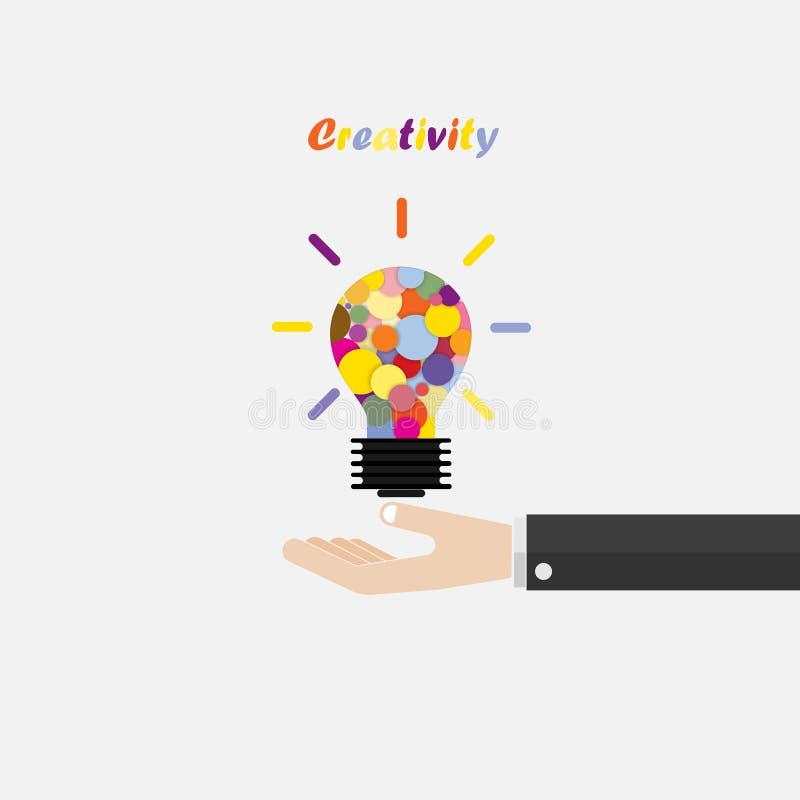 La main et le vecteur créatif d'abrégé sur idée de lumière d'ampoule conçoivent le templat illustration stock