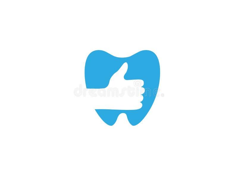 La main et les dents entretiennent et réparent la clinique de dentiste pour la conception de logo illustration libre de droits