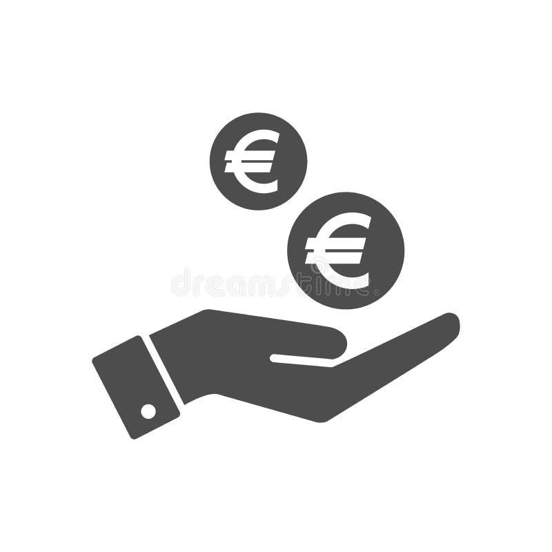 La main et les euro cents invente l'icône plate chutante Euro symbole d'icône de pièce de monnaie et de paume illustration libre de droits