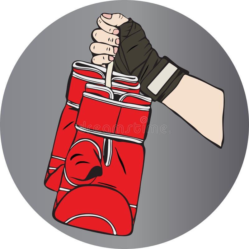 La main femelle dans un bandage élastique sportif tient boxin en cuir rouge illustration de vecteur