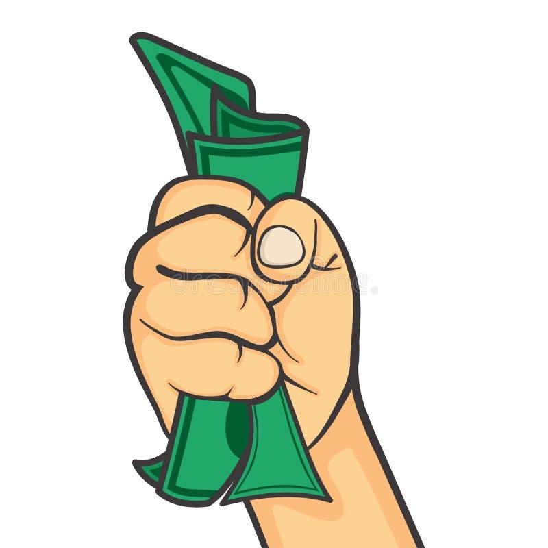 La main font le poing tenant l'argent illustration stock