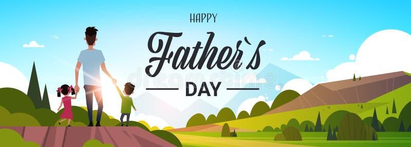 La main heureuse de papa de prise de fille et de fils de vacances de famille de fête des pères se tiennent regardant la carte de  illustration stock