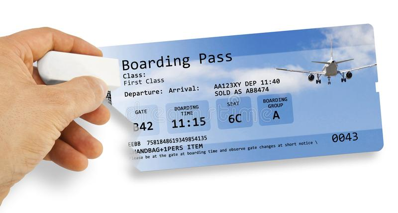La main humaine efface un billet d'avion - le concept décommandé par vol i photos libres de droits