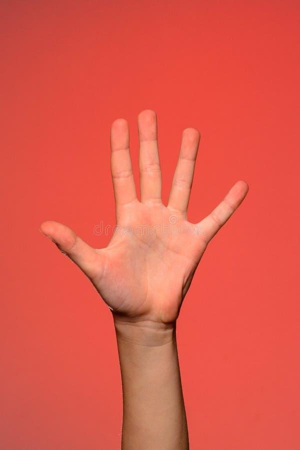 La main humaine montre cinq doigts, qui symbolise l'affection D'isolement sur un fond rouge photo libre de droits