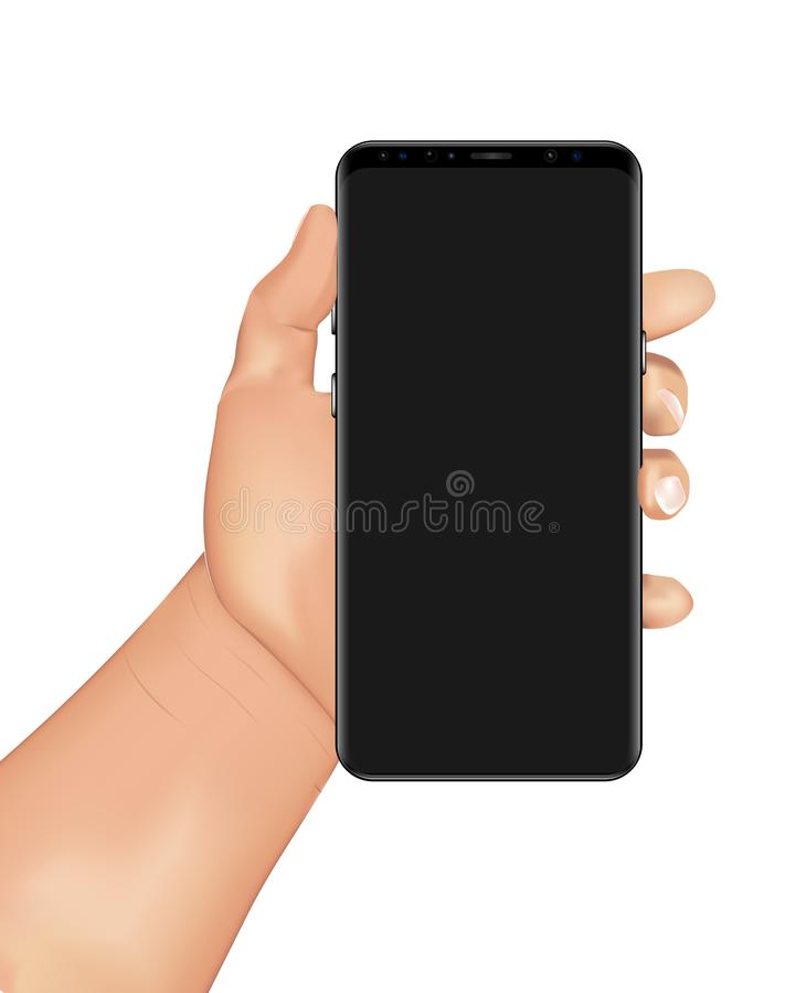 La main humaine tient le smartphone illustration stock