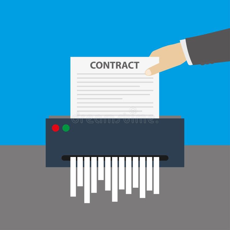 La main insère le document de contrat dans le destructeur de papier illustration libre de droits