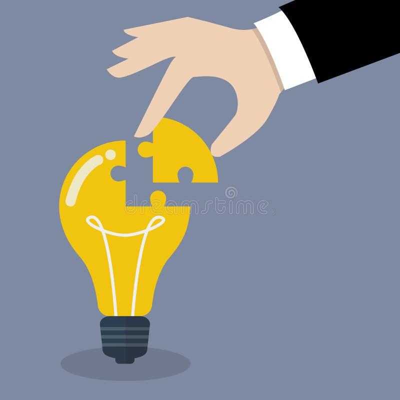 La main insère le puzzle absent dans l'ampoule illustration libre de droits