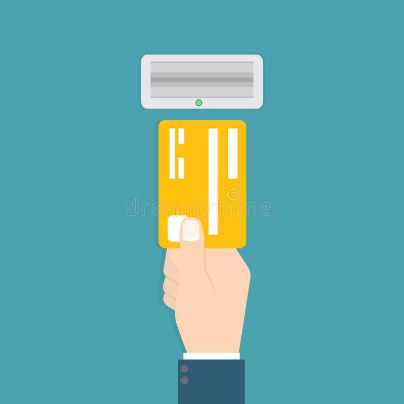 La main insère une carte de crédit dans l'atmosphère Illustration de vecteur illustration libre de droits