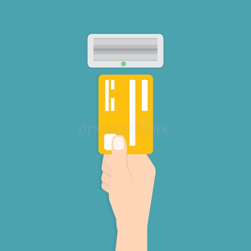 La main insère une carte de crédit dans l'atmosphère Illustration de vecteur illustration stock