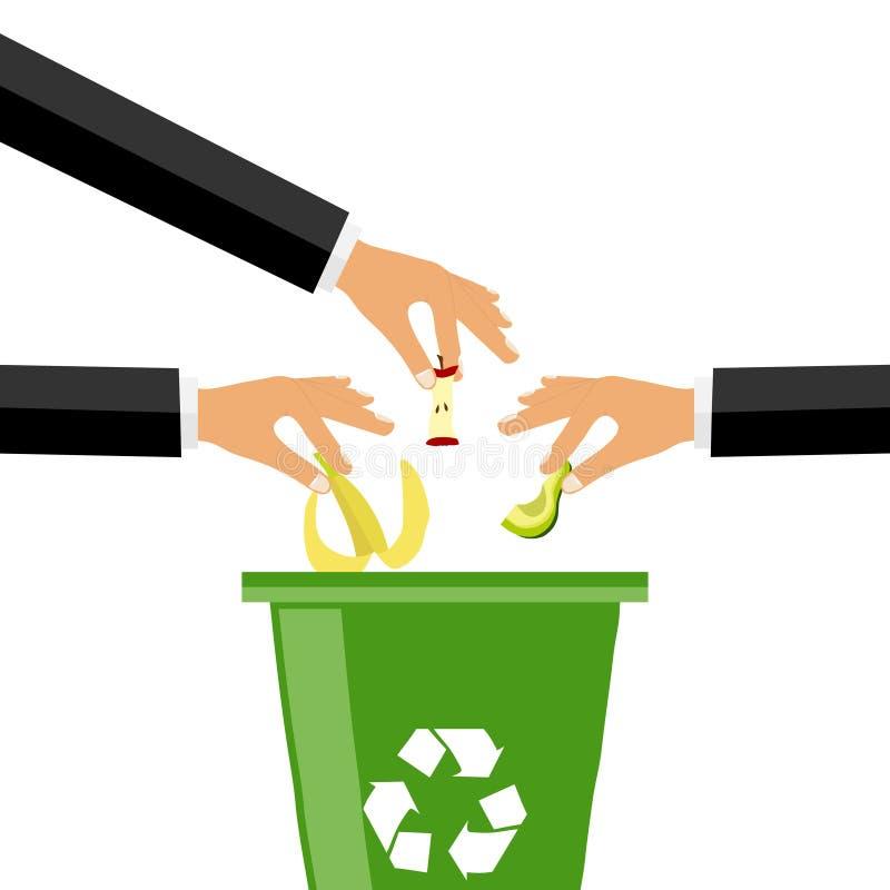 La main jette des déchets dans la poubelle, beaucoup de mains jetant des déchets illustration de vecteur