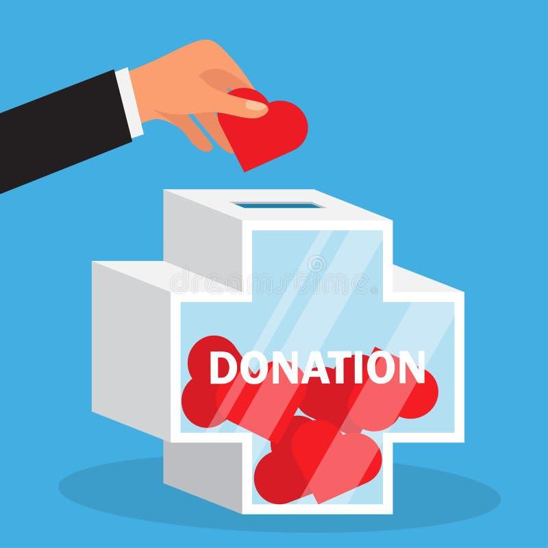 La main jette le coeur dans une boîte de donation illustration stock