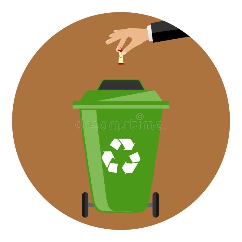 La main jette les déchets dans le récipient illustration stock