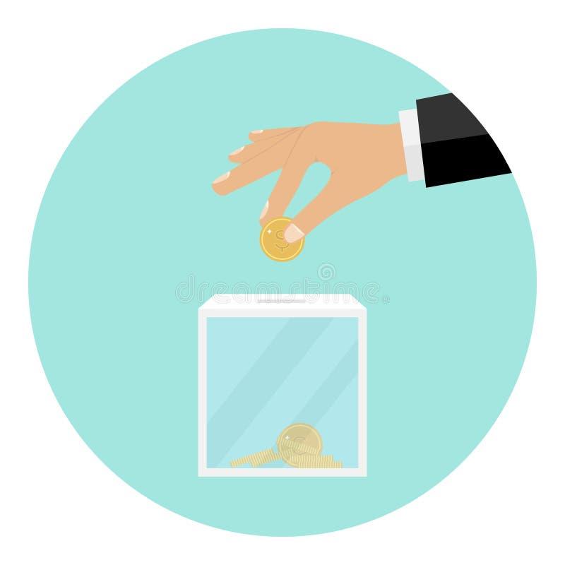 La main jette une pièce de monnaie dans la boîte pour des donations illustration stock