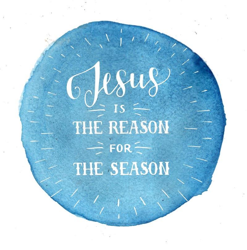 La main marquant avec des lettres Jésus est la raison de la saison sur le fond bleu d'aquarelle illustration de vecteur