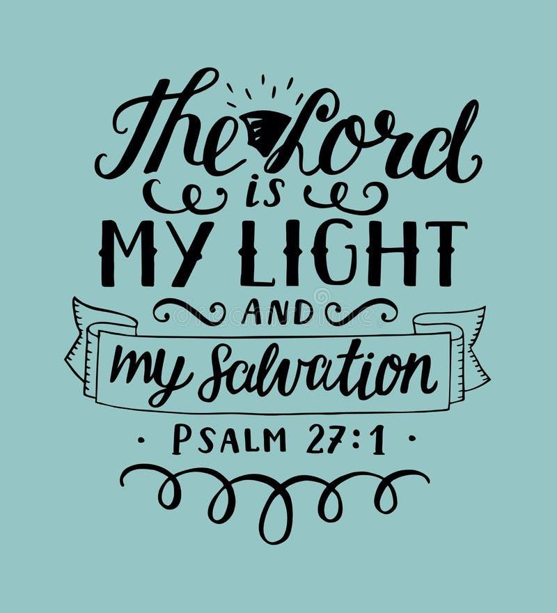 La main marquant avec des lettres le seigneur est ma lumière et mon salut avec le soleil illustration libre de droits