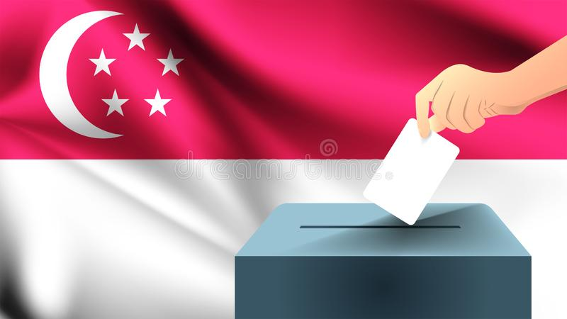 La main masculine a déposé une feuille de papier blanche avec une marque comme symbole d'un bulletin de vote dans la perspective  illustration de vecteur